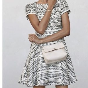 Banana Republic Cream Jacquard Fit & Flare Dress